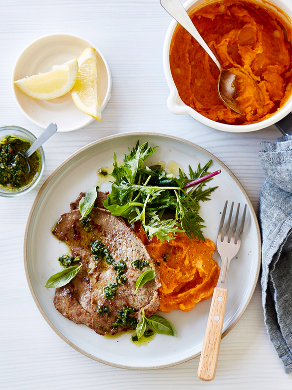Veal scaloppine with salsa verde