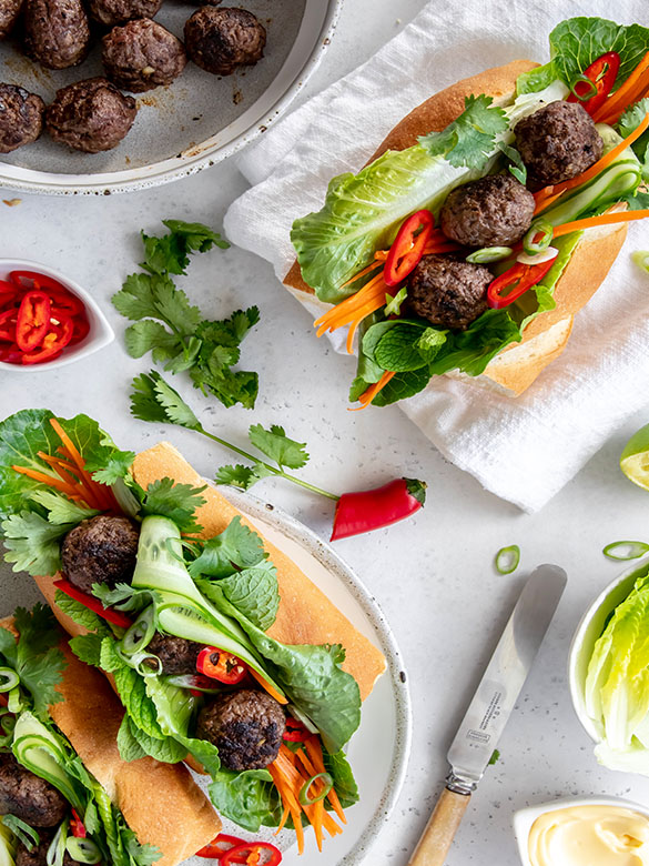 Charred Veal Meatball Banh Mi