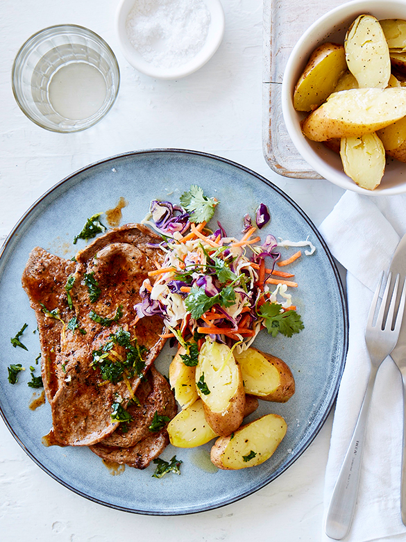 Veal steaks with zesty gremolata