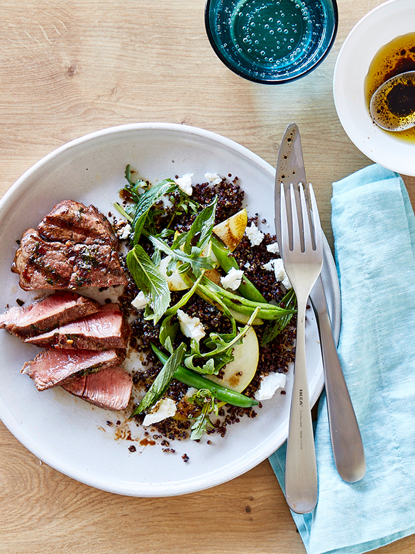 Barbecued veal eye fillet with rocket quinoa salad