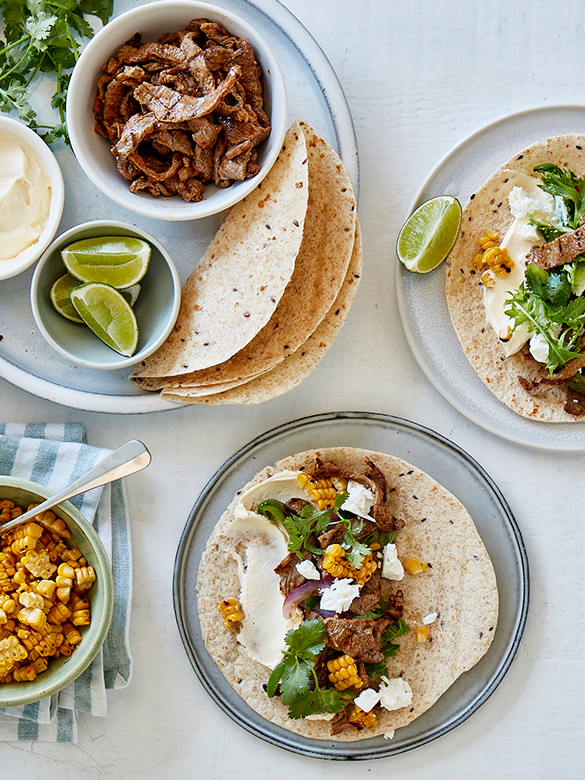 Veal steak fajitas with corn & feta