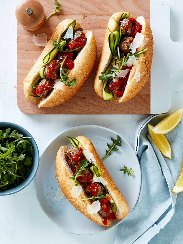 Veal meatball sub with tomato sauce