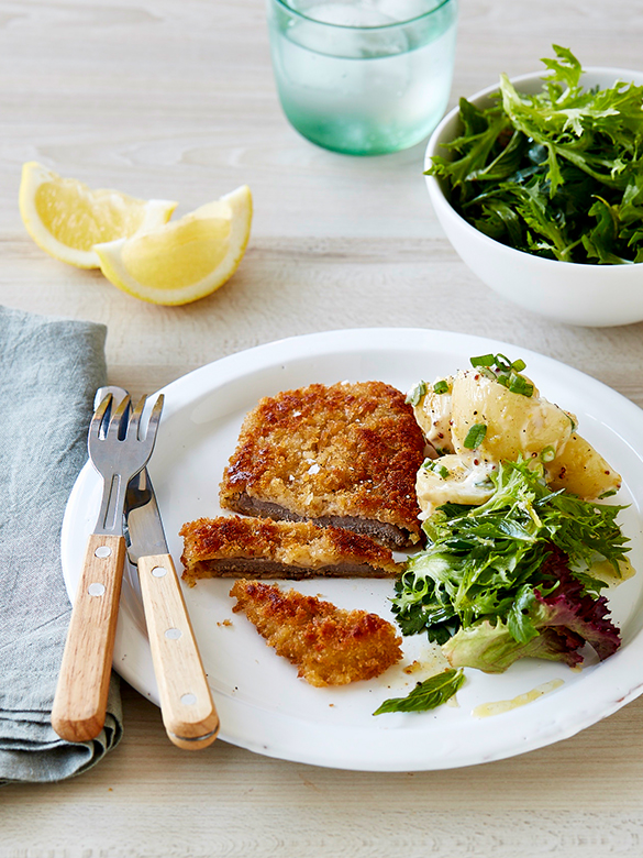 Veal Milanese with green herb salad